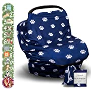 Multi-Use Nursing Cover for Breastfeeding | Baby Breathable Scarf for Women & Perfect Stroller, Car Seat Covers | Full Privacy & Made of Organic Cotton | BONUS 12 Baby Monthly Stickers
