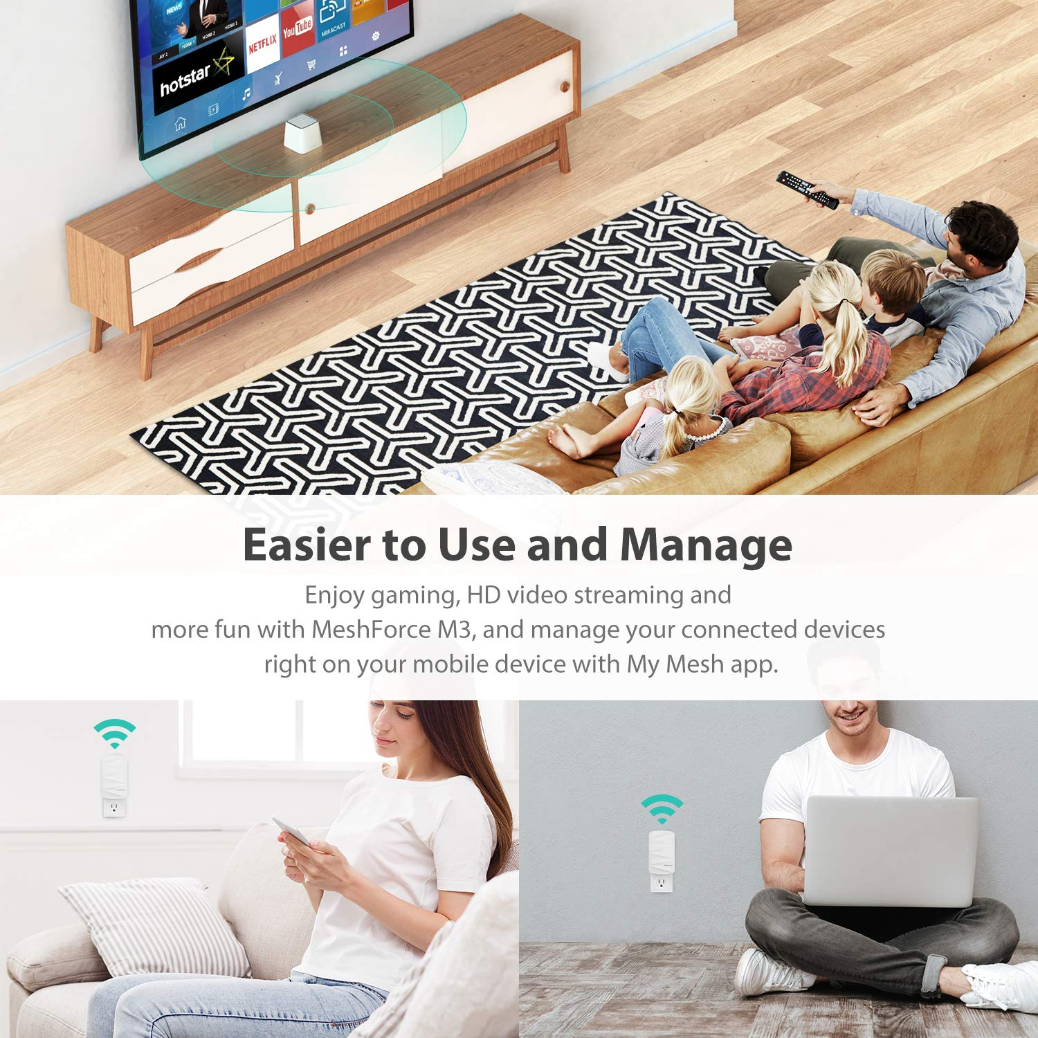 MeshForce Whole Home Mesh WiFi System M3 Suite (1 WiFi Point + 2 WiFi Dot) - Dual Band WiFi System Router Replacement and Wall Plug Extender - High Performance Wireless Coverage for 5+ Bedrooms Home by Meshforce (Image #5)
