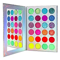 Neon Glitter Eyeshadow Palette Makeup,Afflano UV Glow Blacklight Highly Pigmented Palette Eye Shadow Pallets,Matte Bright Colorful Rainbow Blue Red Orange Purple Green Pressed Glitter Makeup Palettes