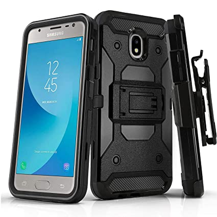 Phone Case for [Samsung Galaxy J3 Orbit (S367VL)], [Tank Series][Black]  Shockproof Cover with [Kickstand] & [Holster] for Galaxy J3 Orbit  (Tracfone,