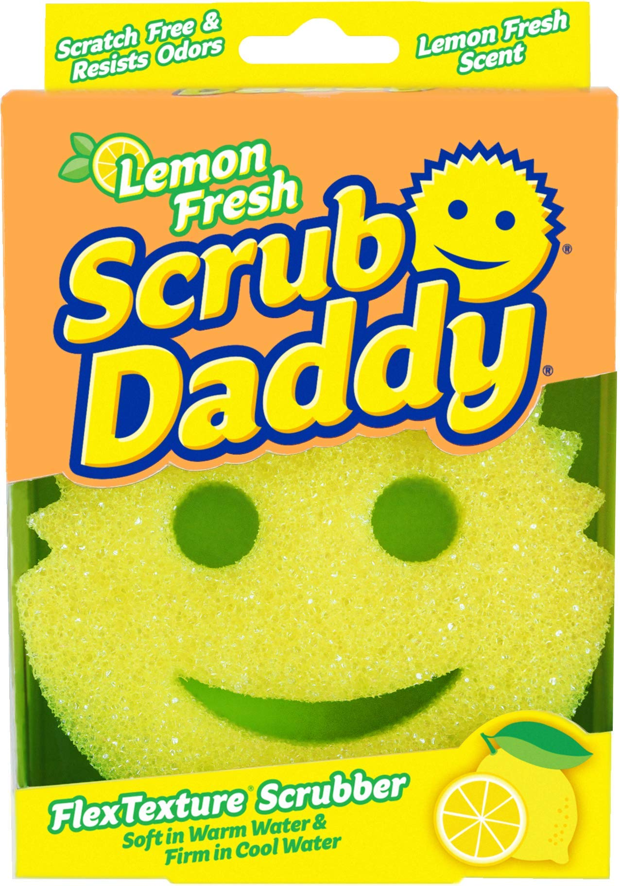 Scrub Daddy Lemon Fresh Scrubber - FlexTexture Sponge, Soft in Warm Water, Firm in Cold, Deep Cleaning, Dishwasher Safe, Multiuse, Scratch Free, Odor Resistant, Functional, Ergonomic, 1pk