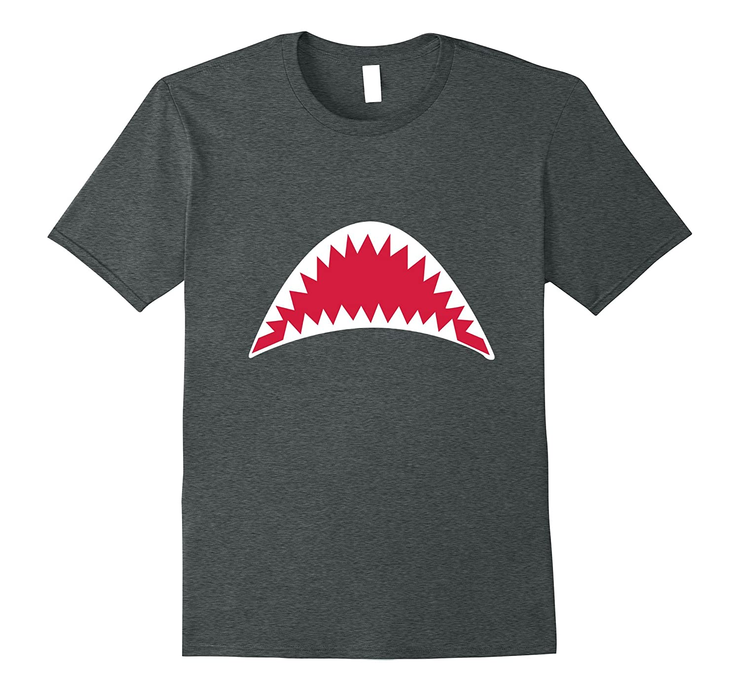 Shark Mouth Funny Graphic Heather-Awarplus