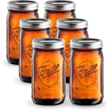 Ball Amber Glass [6 Pack] Wide Mouth Mason Jars (32 oz/Quart) With Airtight lids and Bands - Amber Canning Jar - Microwave & Dishwasher Safe. Bundled With SEWANTA Jar Opener