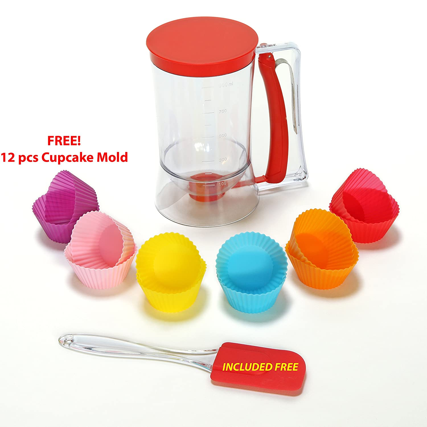 ARUBA PRODUCTS ONLINE Cupcake pancake batter plastic dispenser for Cupcake, Waffles, Muffin Mix, Crepes, Cake and baking Pastries. plus Spatula, 12 pcs Cupcake Mold and Ebook