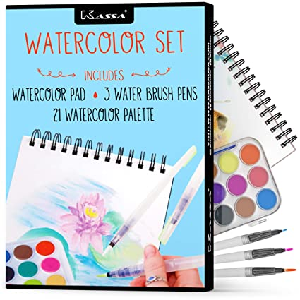 Kassa Watercolor Set - Painting Kit for Kids & Adults - Includes Water  Brush Pen (3 Assorted Sizes), Water Color Paper (30 Sheets) & Watercolor  Paint ...