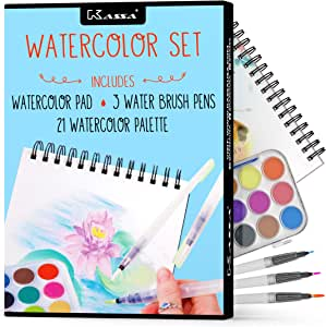 Kassa Watercolor Set - Painting Kit for Kids & Adults - Includes Water Brush Pen (3 Assorted Sizes), Water Color Paper (30 Sheets) & Watercolor Paint Set (21 Colors)