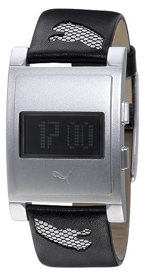 Puma Time - Reloj digital de cuarzo para hombre con correa de acero inoxidable, color plateado: Amazon.es: Relojes