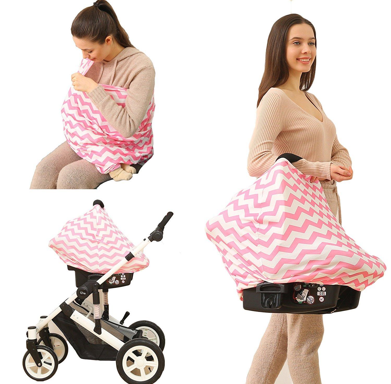 Kiddo Care Nursing Cover Infinity Pañ uelo de lactancia para lactancia (Pink White Chevron) ...