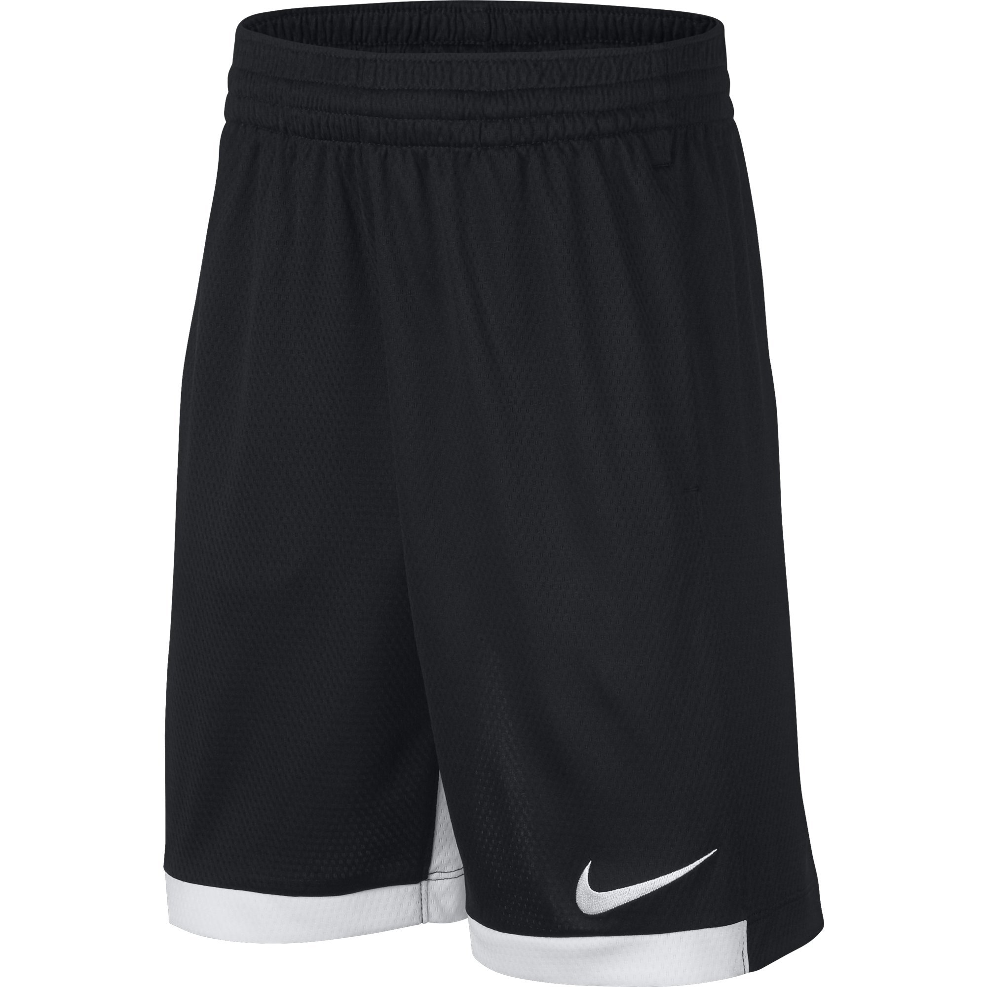 NIKE Boys' Dry Trophy Athletic Shorts, Black/White/White, X-Small