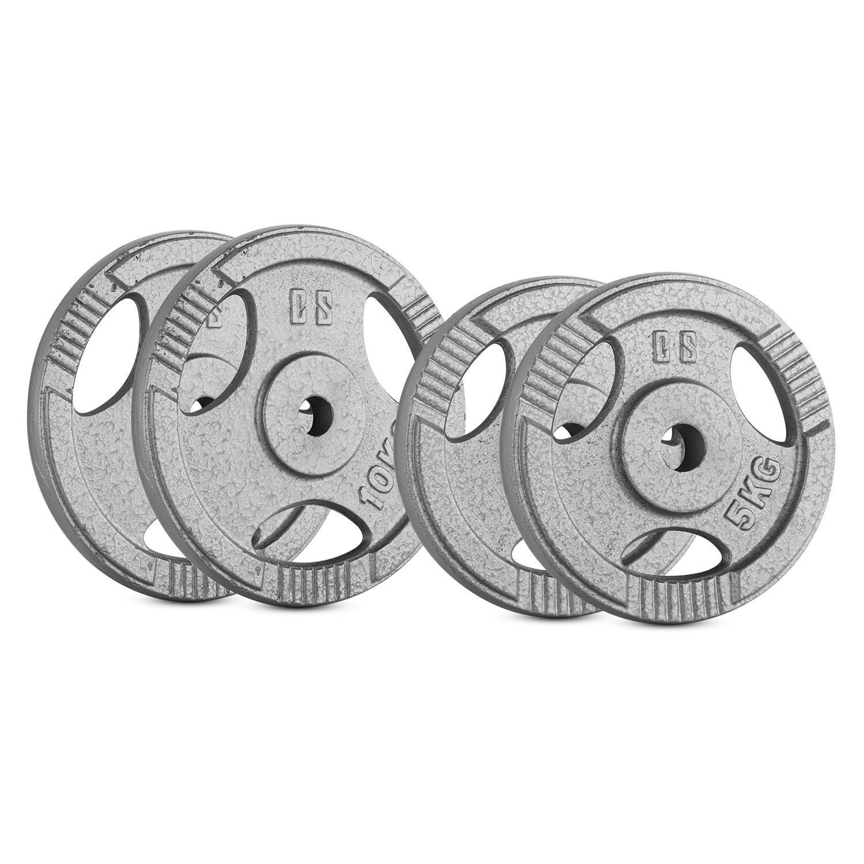 CAPITAL SPORTS IP3H 15 kg Set Juego de discos de pesas 2 x 2,5 kg 2 x 5 kg 30 mm Ejercicio peso fitness, 3 ranuras agarre, apto entrenamiento sin barra olimpica