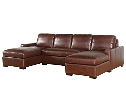 Abbyson Laurena SK 5928 BRN WX 100% Full Grain Vintage Leather Sectional