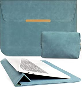 TOWOOZ 13.3 Inch Laptop Sleeve Case Compatible with 2016-2020 MacBook Air/MacBook Pro 13-13.3 inch/iPad Pro 12.9 / Dell XPS 13/ Surface Pro X, PU Leather Bag (13-13.3, Dark Blue)