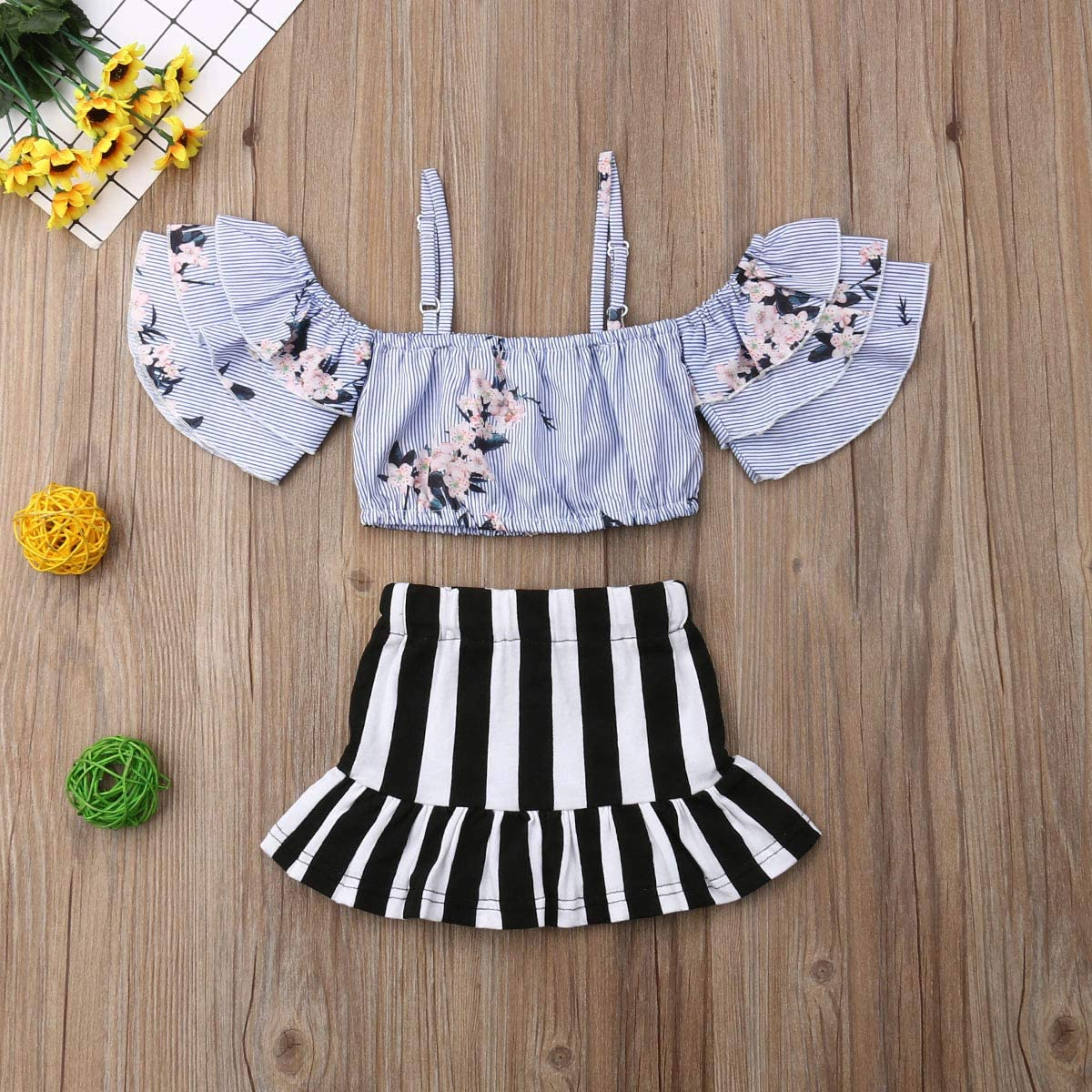 yannzi Toddler Kids Baby Girls Clothes Off Shoulder Top Shirts Striped Pants Outfits 1-6T