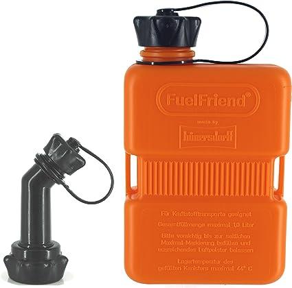 Fuelfriend Plus 1 0 Liter Sonderserie Orange Klein Benzinkanister Mini Reservekanister Verschließbares Auslaufrohr Auto