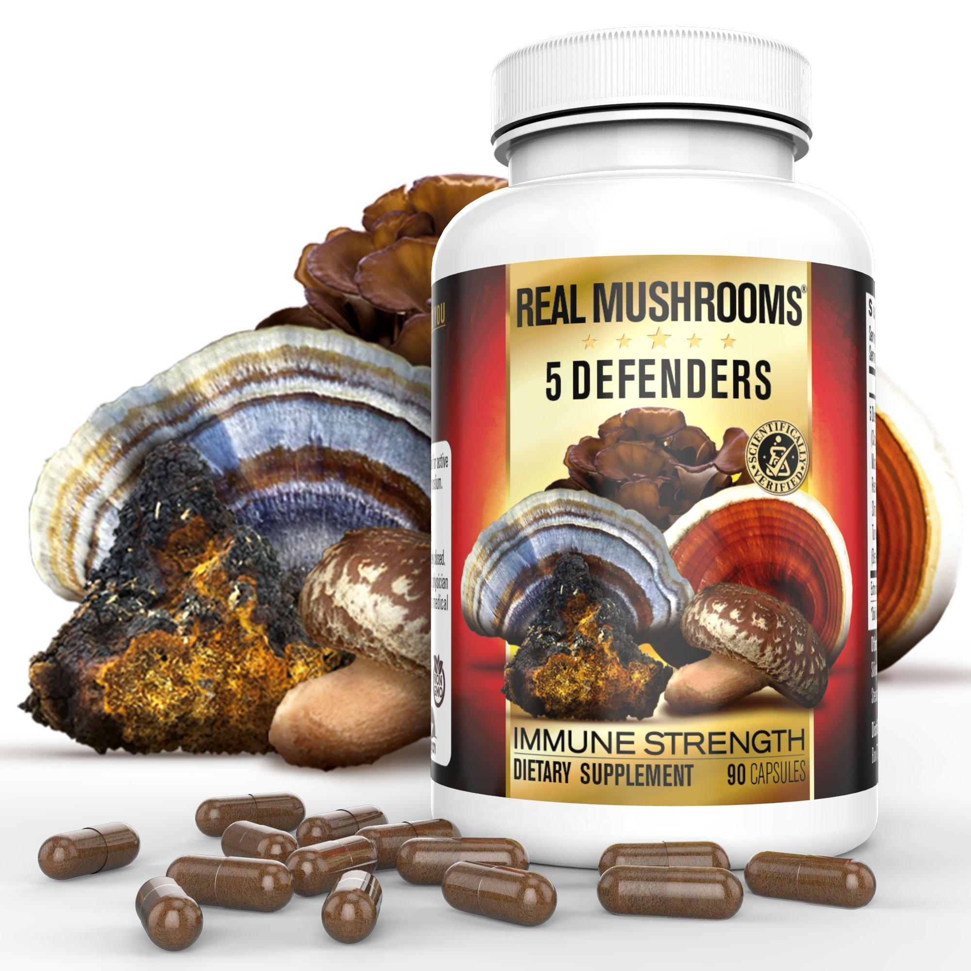 5 Defenders Organic Mushroom Extract Blend by Real Mushrooms - 90 Capsules - Chaga, Reishi, Shiitake, Maitake and Turkey Tail Mushroom Powder - Immune Defense