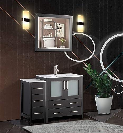 Amazon Com Vanity Art 42 Inch Single Sink Modern Bathroom Vanity Combo Set 1 Shelf 5 Drawers Ceramic Top Bathroom Cabinet With Free Mirror Va3030 42 E Kitchen Dining