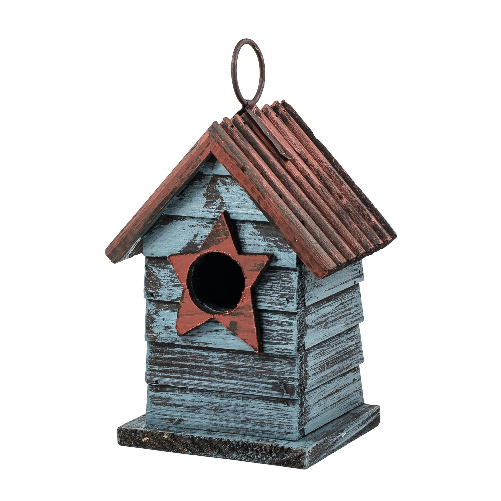 6.5'' Blue Hanging Rustic Style Birdhouse by Carson
