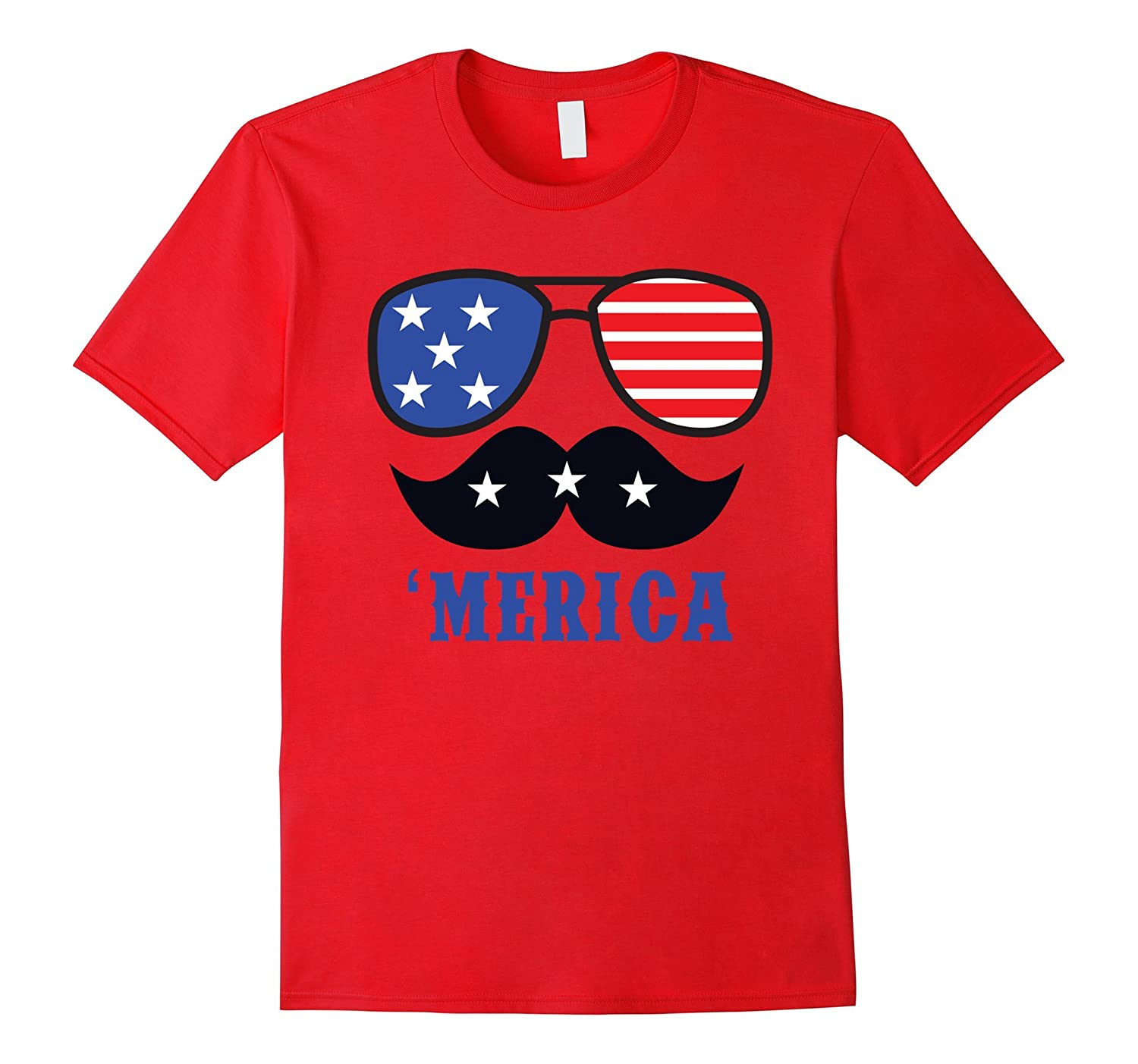 'Merica Fourth of July Cool Shades Mustache T-Shirt-TH