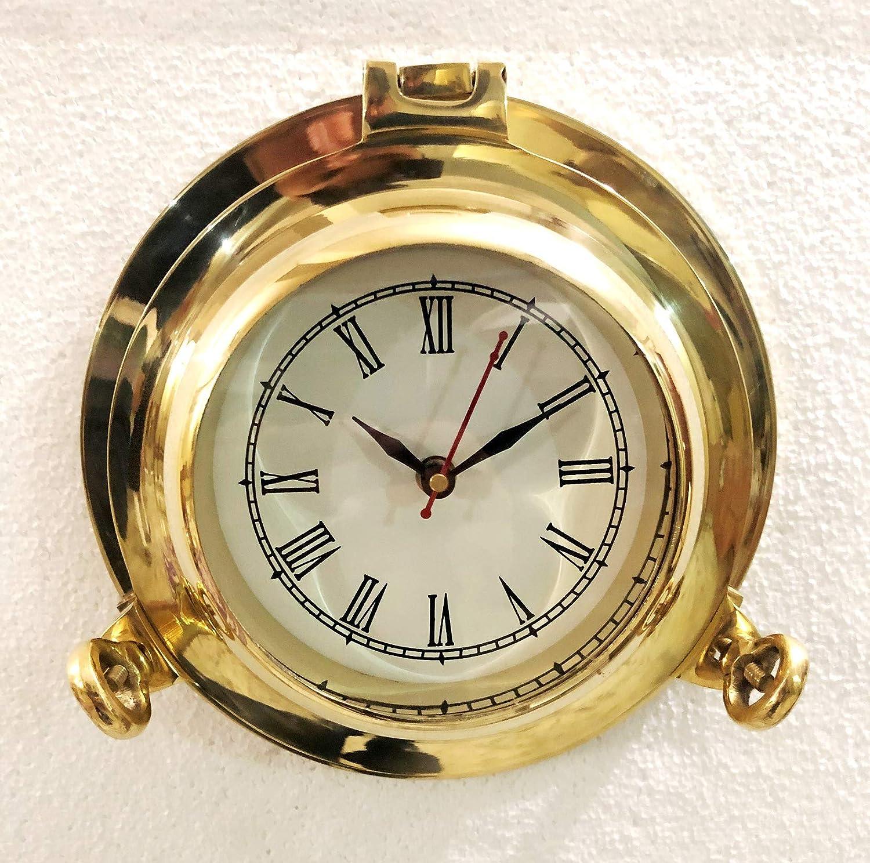 Nautical Collection Store Reloj analógico de Pared náutico de latón Macizo Brillante con Ojo de Buey para Colgar en la Pared y decoración del hogar