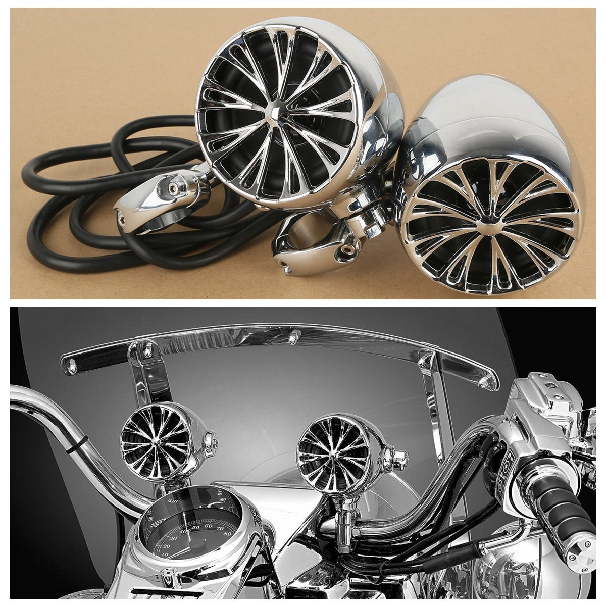 XFMT The Sound of Chrome Speaker System Compatible with Harley Davidson Cruiser 1 Handle Bar 833