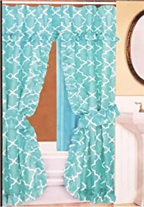 Double Swag Fabric Shower Curtain /12 Coordinated Rolling Ring Hooks, 2 Tie Backs (Aqua Pattern)