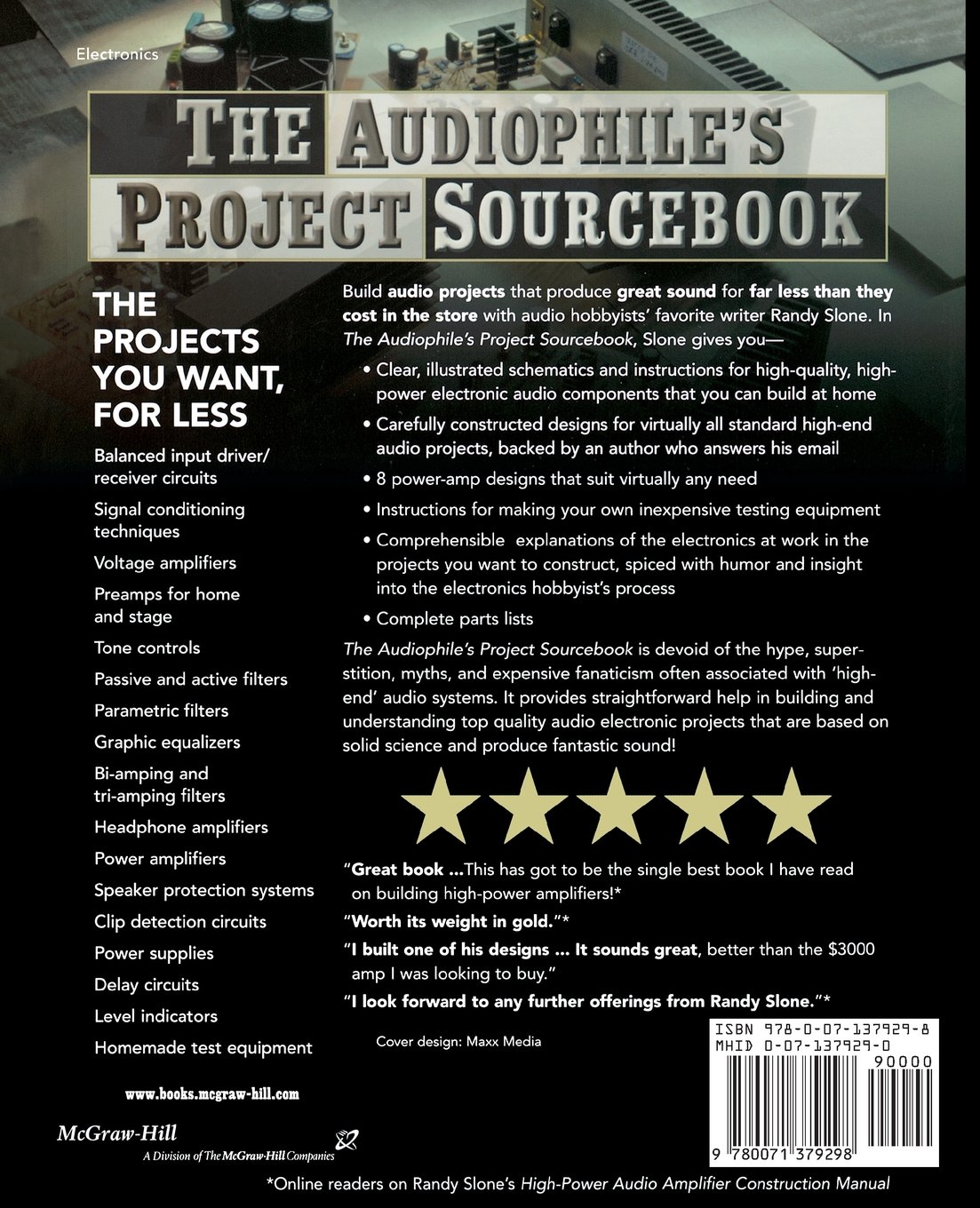The Audiophiles Project Sourcebook: 80 High-Performance Audio Electronics Projects: G. Randy Slone: 9780071379298: Amazon.com: Books
