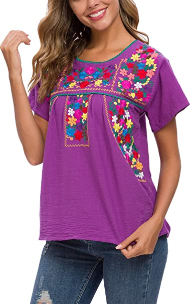 YZXDORWJ Womens Embroidered Mexican Peasant Blouse Mexico Summer Shirt Short Sleeve