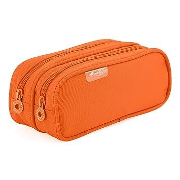 Colorline 59811 - Portatodo Doble, Estuche Multiuso para Viaje, Material Escolar, Neceser y Accesorios. Color Naranja, Medidas 21 x 9 x 5.5 cm