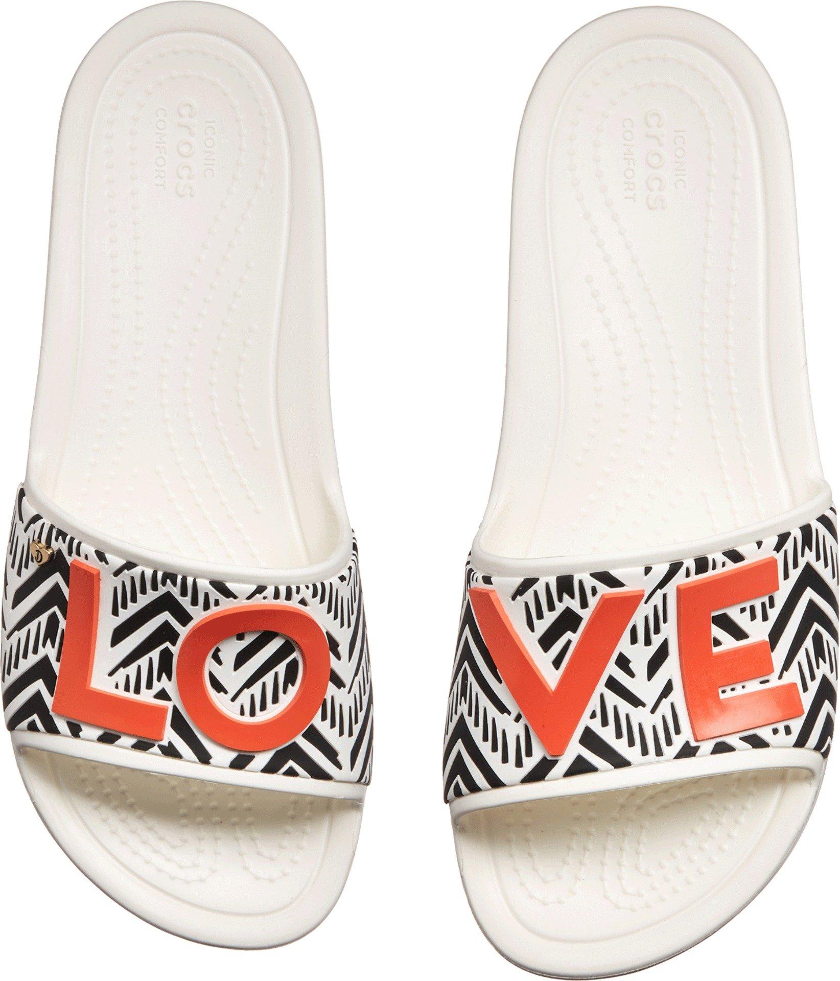Crocs Women's Drew Barrymore Sloane Chevron Slide Flat Sandal, White, 7 M US