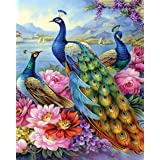 Paint by Numbers for Adults Beginner - TUMOVO Peacocks Adult Paint by Number Colourful Animal DIY Paint by Numbers for Adults