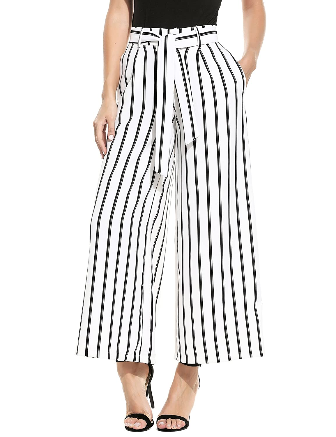 1930s Women's Pants and Beach Pajamas Zeagoo Womens Super Comfy Stripe Flowy Wide Leg High Waist Belted Palazzo Pants Capris $22.99 AT vintagedancer.com