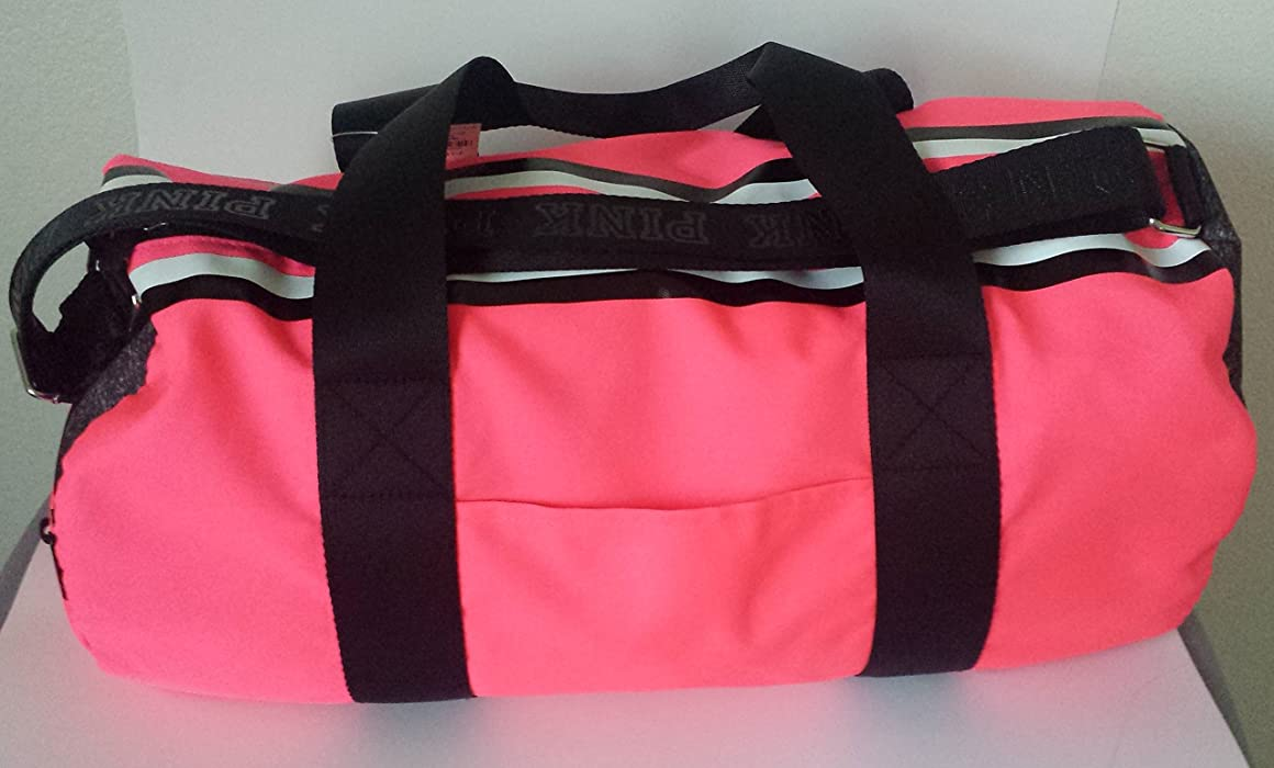 48351b229e Pink Gym Duffle Bag Reflective Logo-Neon Hot Pink. Back. Double-tap to zoom