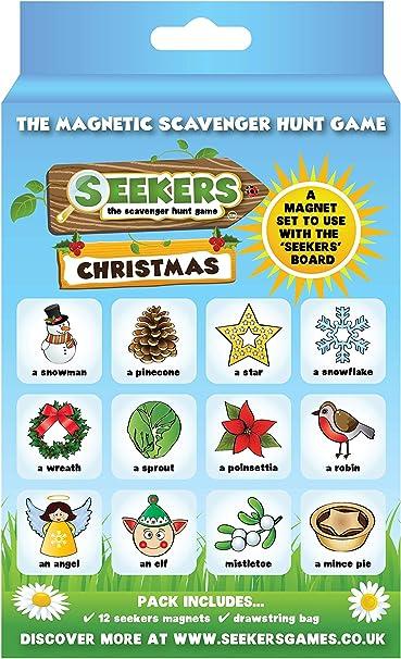 BUSCADOR Scavenger Hunt Juego Christmas Add-On Pack. Diversión para niños de todas las edades. Ideal para almacenar rellenos. Juegos de interior / exterior para niños. El juego de inicio de tablero magnético
