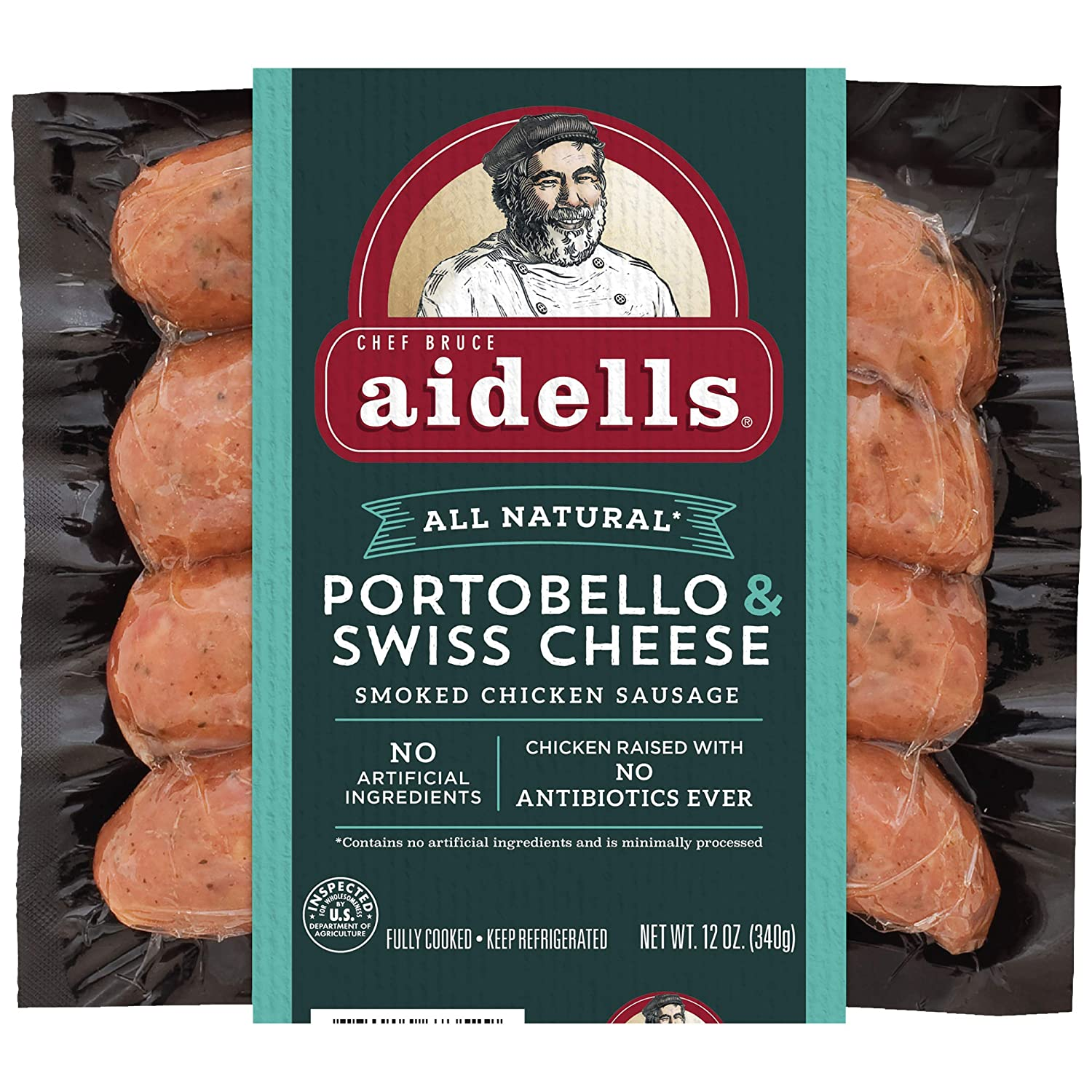 Aidells Smoked Chicken Sausage, Portobello & Swiss Cheese, 12 oz. (4 Fully Cooked Links)