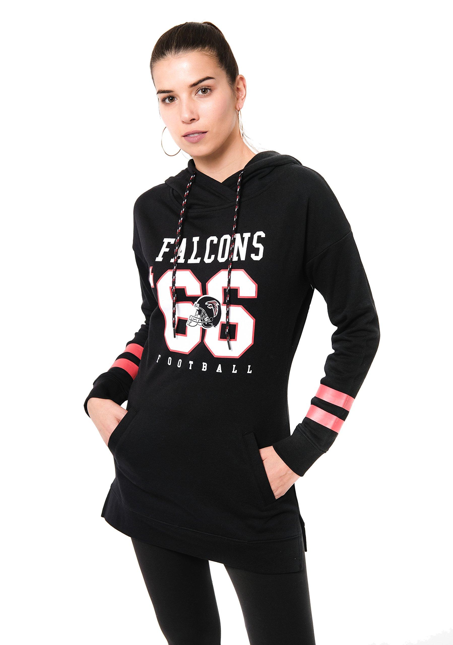ICER Brands NFL Atlanta Falcons Women's Tunic Hoodie Pullover Sweatshirt Terry, Small, Black