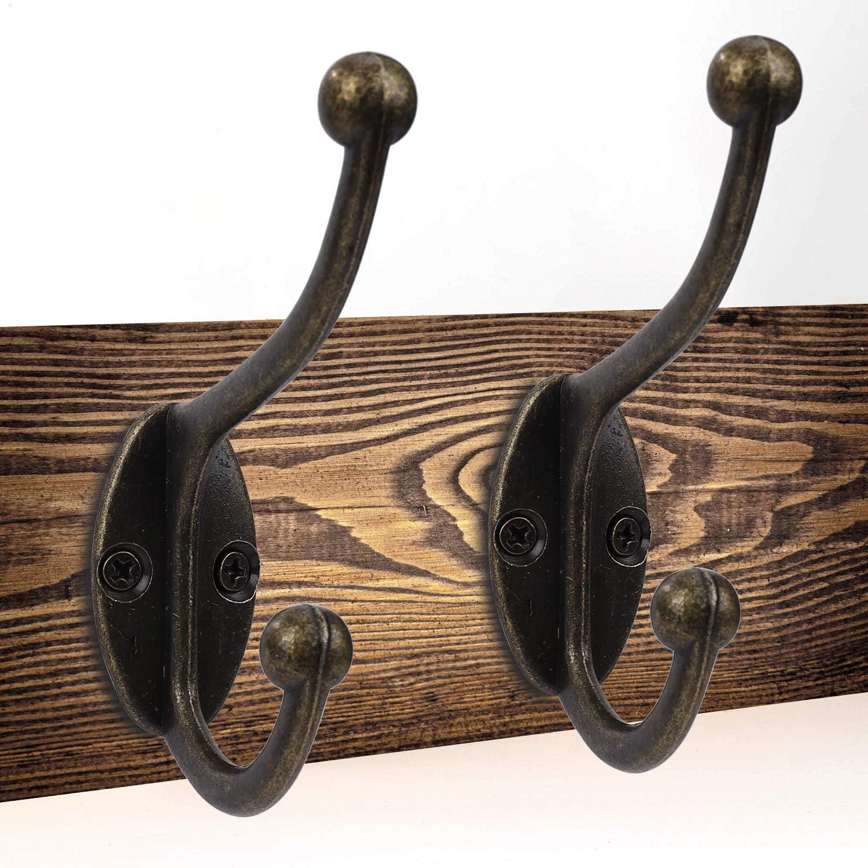 MengH-SHOP Ganchos Percheros de Pared Gancho Perchas Vintage Solo Colgadores con Tornillo para Dormitorios Ba/ños Armarios Gabinete Cocina 10 Piezas Bronce