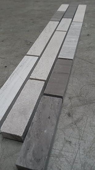 Mosaik Bordüre 5x30 Cm Naturstein Fliesen Yawood Grau Creme Mix Bad Dusche  B031