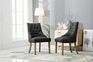 Roundhill Furniture C169CC Button Tufted Solid Wood Wingback Hostess Chairs with Nail Heads, Set of 2, Charcoal