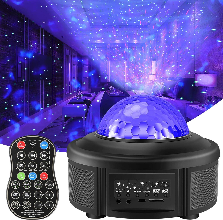 Amazon Com Volador Proyector De Luz Nocturna Con Control Remoto Proyector Estrellado Galaxy Ocean Wave Led Ambiance Light Con 44 Modos De Iluminación Bluetooth Altavoz De Música Para Niños Dormitorio Home Theatre Party
