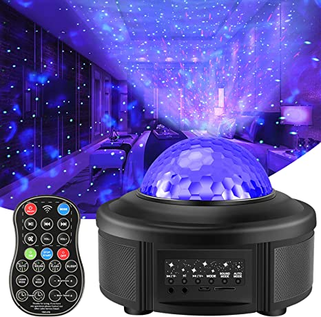 Amazon Com Volador Night Light Projector With Remote Control Galaxy Starry Projector Ocean Wave Led Ambiance Light With 44 Lighting Modes Bluetooth Music Speaker For Kids Bedroom Home Theatre Party Home Improvement