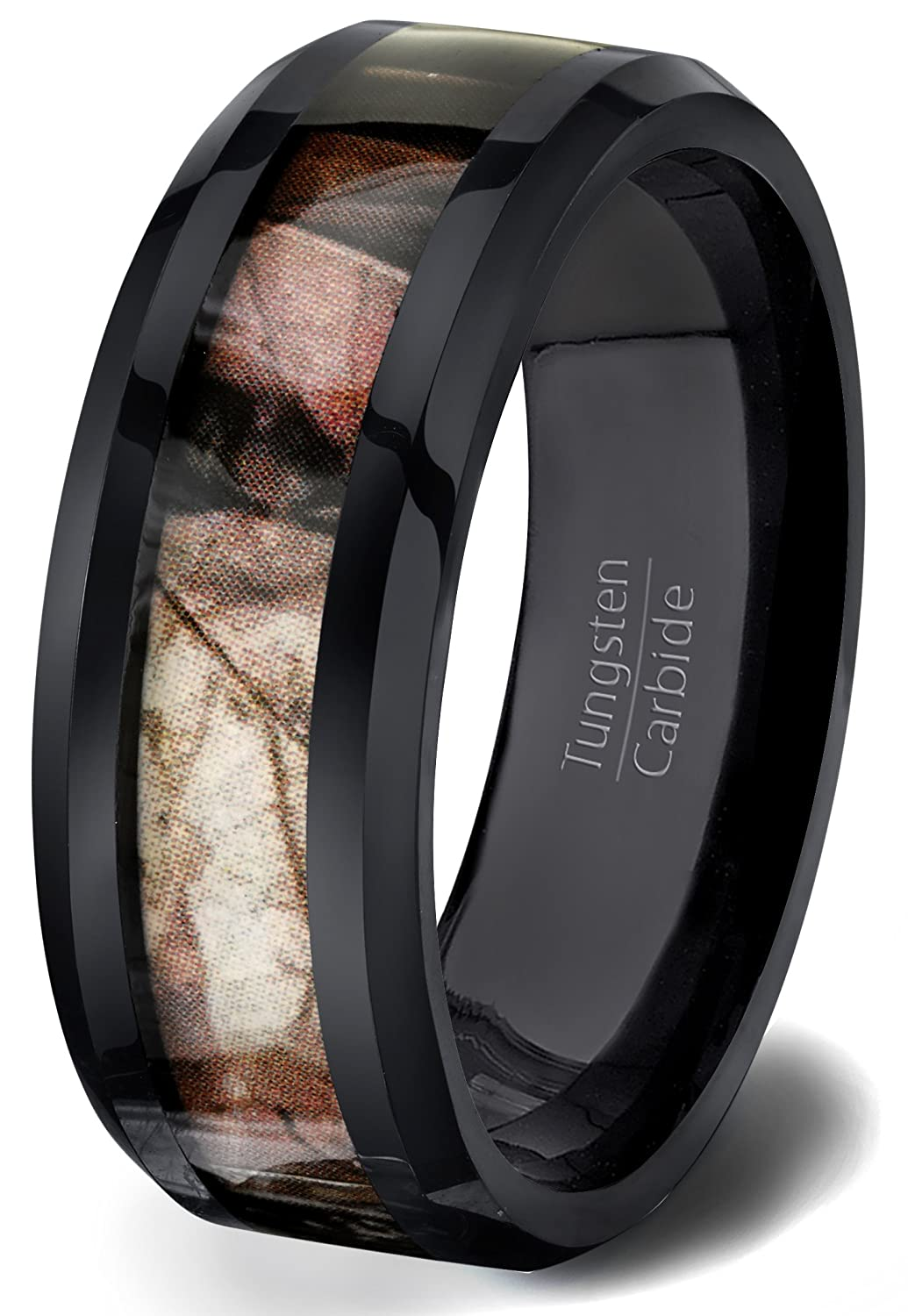 Black Tungsten Ring Solid Wood Surface 8mm Beveled Edge Comfort Fit