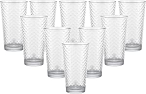 Circleware Paragon Honeycomb Set of 10 Heavy Base Highball Tumbler Drinking Glasses, Beverage Glassware Ice Tea Cups for Water, Juice, Milk, Beer, 15.7 oz