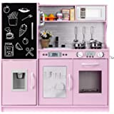 Best Choice Products Pretend Play Kitchen Wooden Toy Set for Kids with Realistic Design, Telephone, Utensils, Oven, Microwave