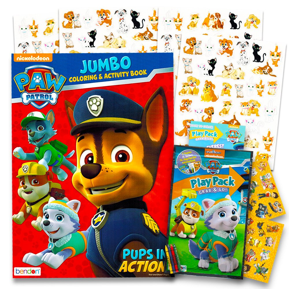 Paw Patrol Coloring And Activity Book Set Jumbo Coloring Book Stickers And More Coloring Activity Set