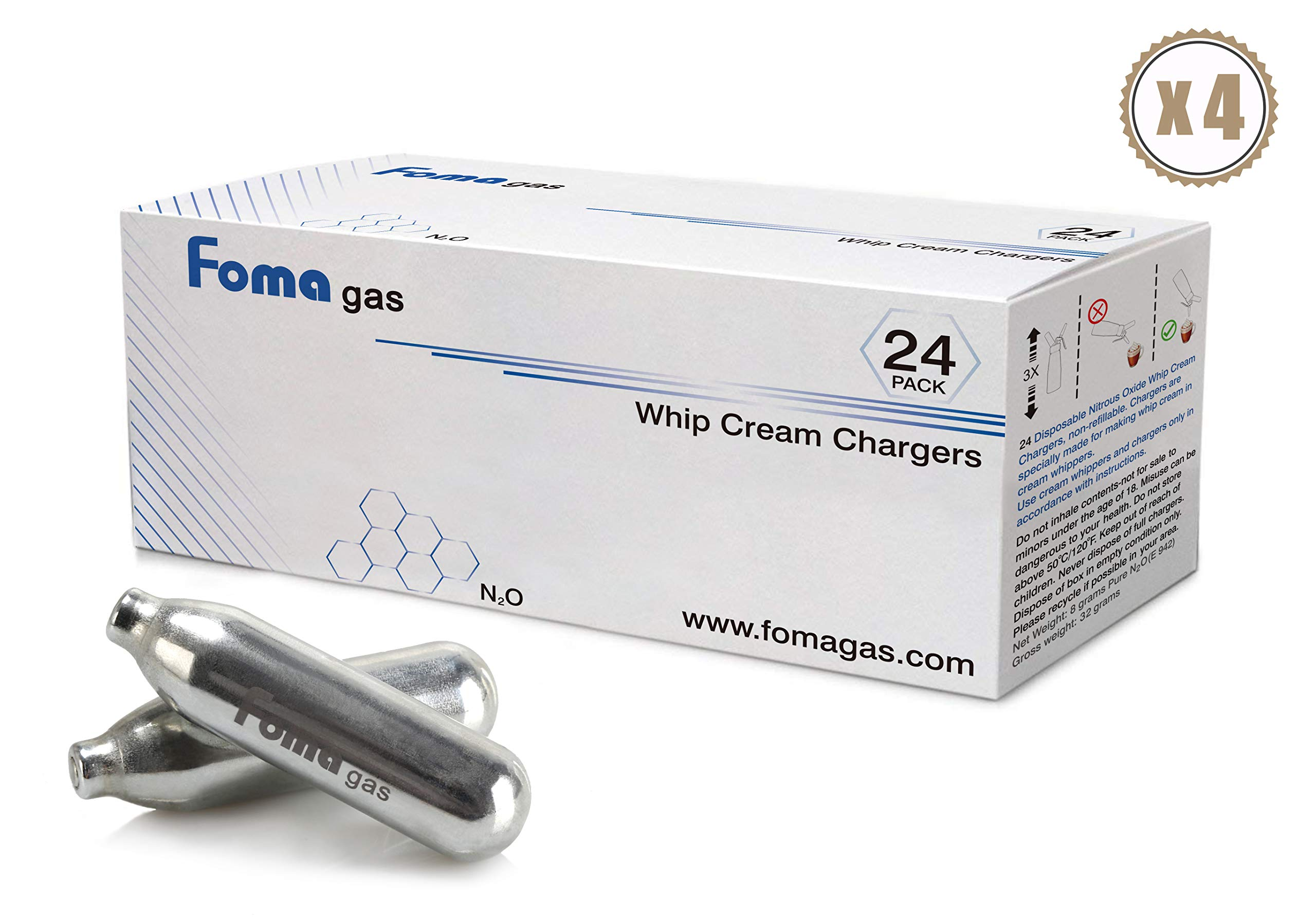 Foma Gas Pure Food Grade whipped cream chargers N2O Whip Cream Chargers (96 packs)