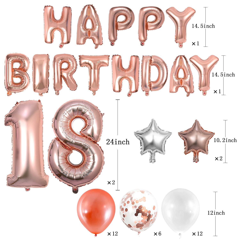 18/° Compleanno Festa Decorazioni Palloncini Compleanno e Pendenti a Spirale WolinTek Set 18esimo Compleanno Decorazioni,Oro Rosa 18 Anni Compleanno Decorazioni per Ragazza Donna