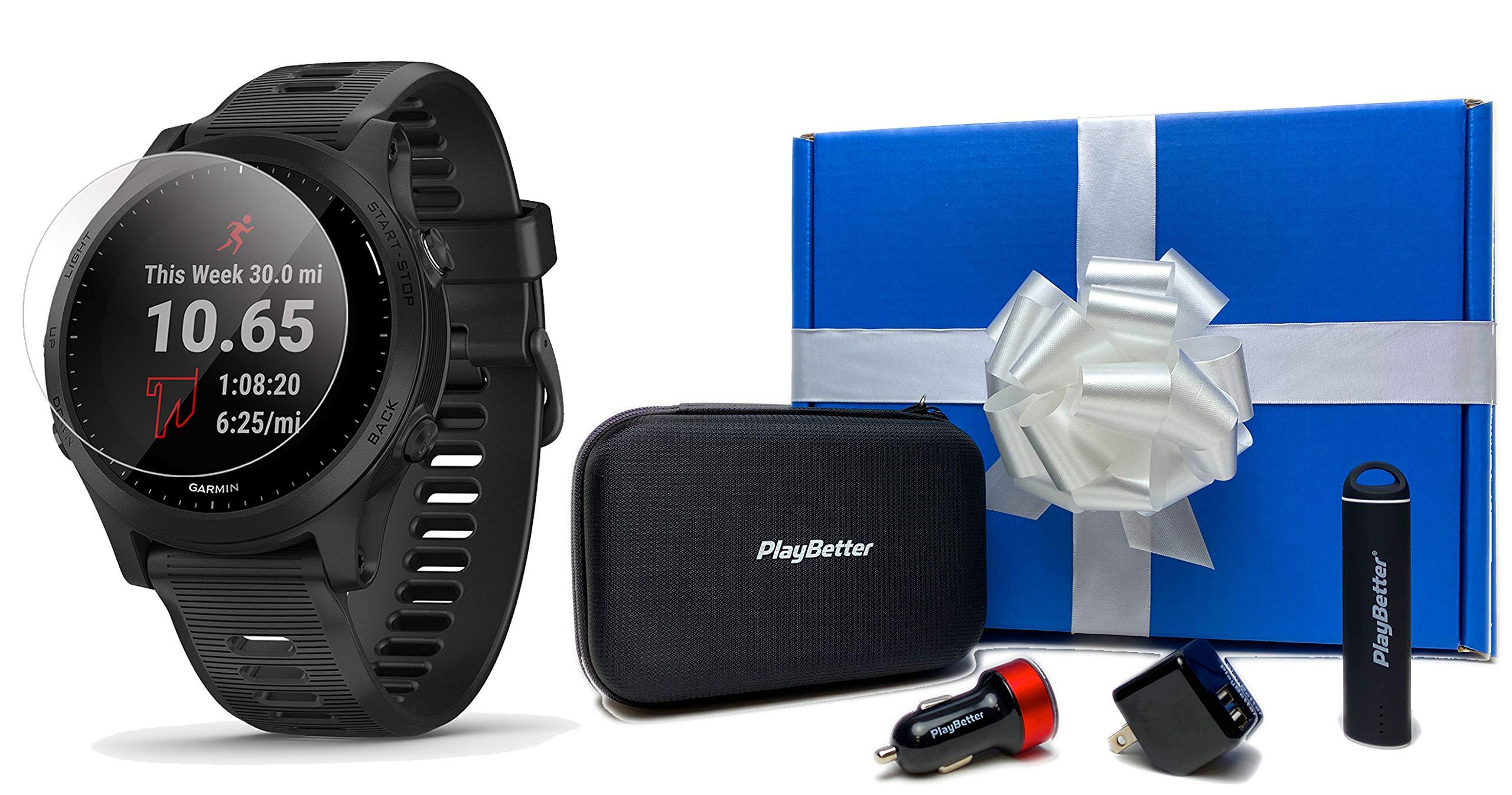 Garmin Forerunner 945 (Black) Running GPS Watch Gift Box Bundle | +PlayBetter HD Screen Protectors (x4), PlayBetter USB…