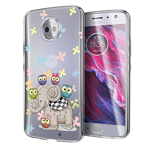 new styles 4b4e2 4b643 Motorola Moto X4 Case, POKABOO Elephant Owl Floral Android One Moto X4  Phone Case, Personalized Design Clear Flexible Silicone Rubber Shock  Resistance ...