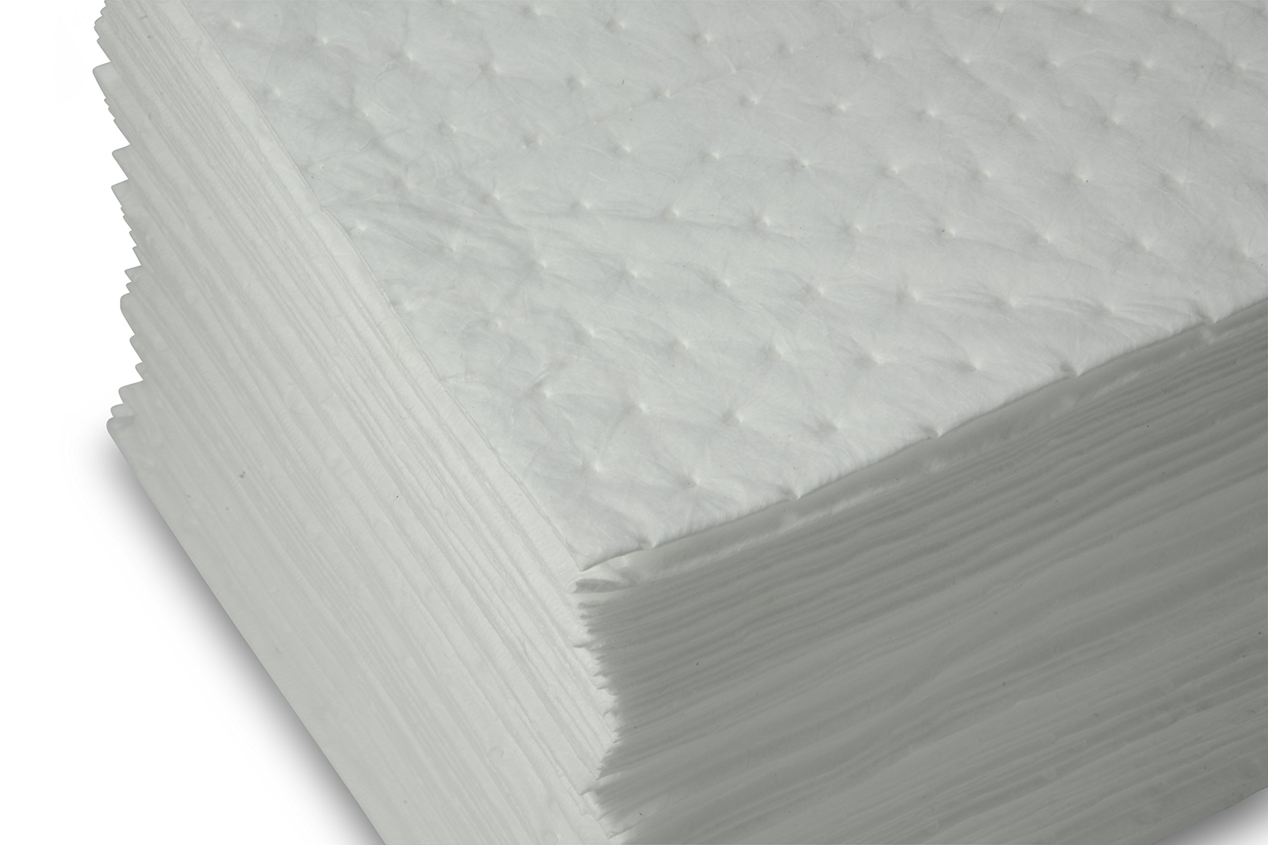 AABACO Oil Only ABSORBENT PADS - Heavy Weight Sheets (100ct Per Pack) 15 X 17 Inch High Absorbency for OIL and FUEL SPILLS - Repels Water, Absorbing up to 24 Gallons - Cleanup & Automotive (100)
