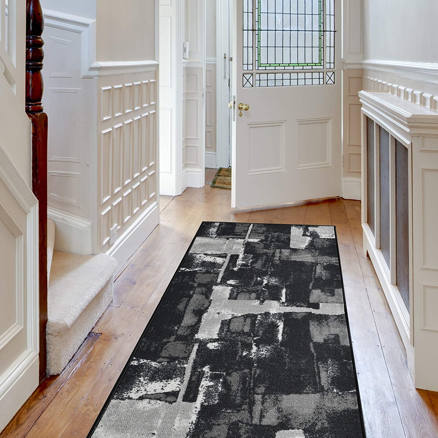 Decorative Area Rug and Carpet Runner for Stairs Hallway 26 X 8 Black Non-Skid Rubber Back 8 Patterns Customizable Lengths iCustomRug Abstract
